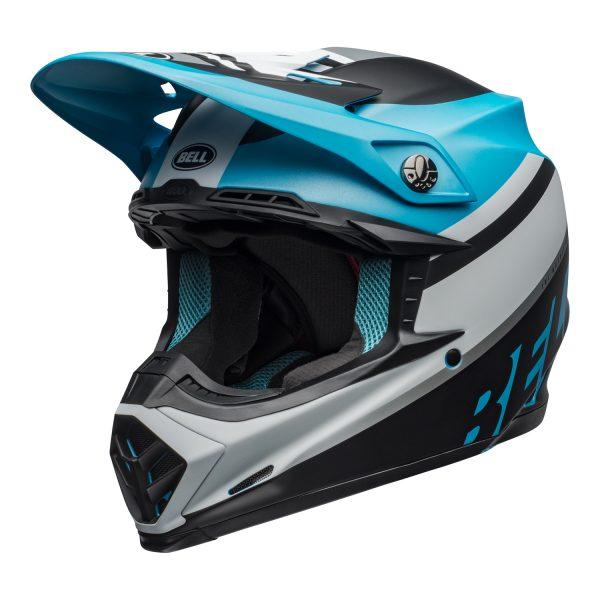 bell-moto-9-mips-dirt-helmet-prophecy-matte-white-black-blue-front-left.jpg-Bell MX 2021 Moto-9 Mips Adult Helmet (Prophecy Matte White/Black/Blue)