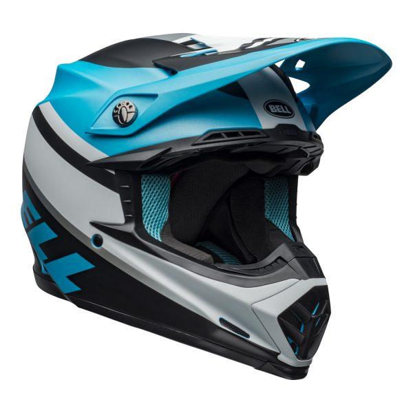 bell-moto-9-mips-dirt-helmet-prophecy-matte-white-black-blue-front-right.jpg-Bell MX 2021 Moto-9 Mips Adult Helmet (Prophecy Matte White/Black/Blue)