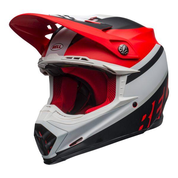 bell-moto-9-mips-dirt-helmet-prophecy-matte-white-red-black-front-left.jpg-Bell MX 2021 Moto-9 Mips Adult Helmet (Prophecy Matte White/Red/Black)