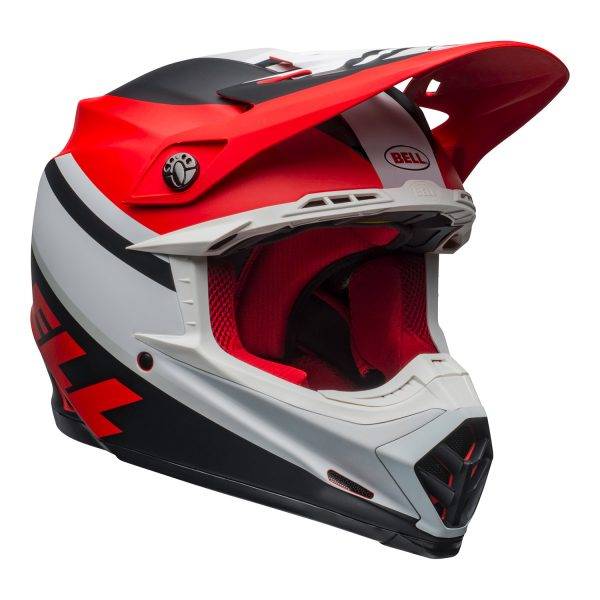 bell-moto-9-mips-dirt-helmet-prophecy-matte-white-red-black-front-right.jpg-Bell MX 2021 Moto-9 Mips Adult Helmet (Prophecy Matte White/Red/Black)