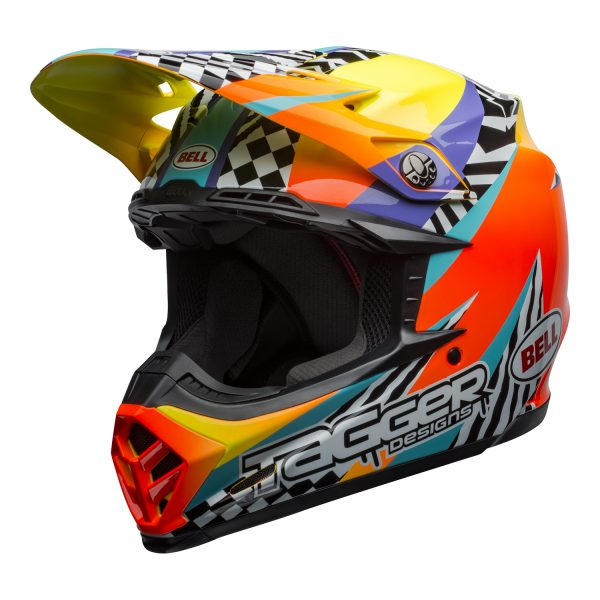 bell-moto-9-mips-dirt-helmet-tagger-breakout-gloss-orange-yellow-front-left.jpg-Bell MX 2021 Moto-9 Mips Adult Helmet (Tagger Breakout Orange/Yellow)