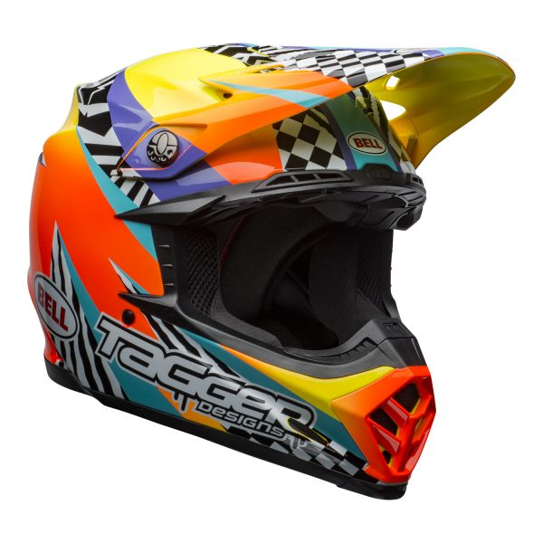 bell-moto-9-mips-dirt-helmet-tagger-breakout-gloss-orange-yellow-front-right.jpg-Bell MX 2021 Moto-9 Mips Adult Helmet (Tagger Breakout Orange/Yellow)