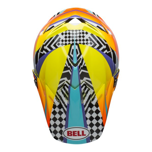 bell-moto-9-mips-dirt-helmet-tagger-breakout-gloss-orange-yellow-top.jpg-Bell MX 2021 Moto-9 Mips Adult Helmet (Tagger Breakout Orange/Yellow)