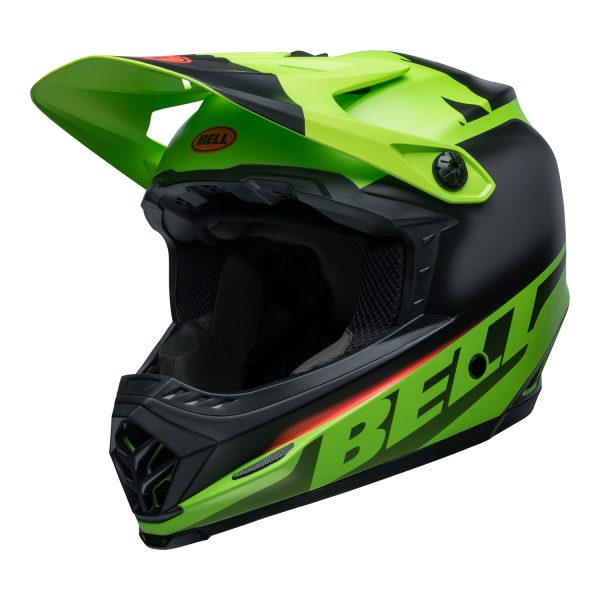 bell-moto-9-youth-mips-dirt-helmet-glory-matte-green-black-infrared-front-left.jpg-Bell MX 2021 Moto-9 Youth MIPS Helmet (Glory Matte Green/Black/Infrared)