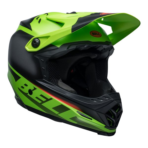 bell-moto-9-youth-mips-dirt-helmet-glory-matte-green-black-infrared-front-right.jpg-Bell MX 2021 Moto-9 Youth MIPS Helmet (Glory Matte Green/Black/Infrared)