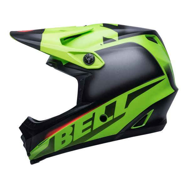 bell-moto-9-youth-mips-dirt-helmet-glory-matte-green-black-infrared-left.jpg-Bell MX 2021 Moto-9 Youth MIPS Helmet (Glory Matte Green/Black/Infrared)