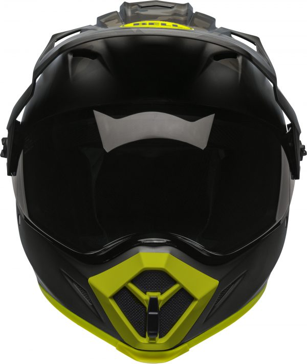 bell-mx-9-adventure-mips-dirt-helmet-stealth-camo-matte-black-hi-viz-front-BELL MX-9 ADVENTURE MIPS STEALTH CAMO MATT BLACK/HI-VIZ