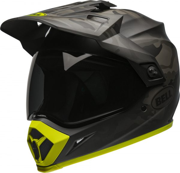 bell-mx-9-adventure-mips-dirt-helmet-stealth-camo-matte-black-hi-viz-front-left-BELL MX-9 ADVENTURE MIPS STEALTH CAMO MATT BLACK/HI-VIZ