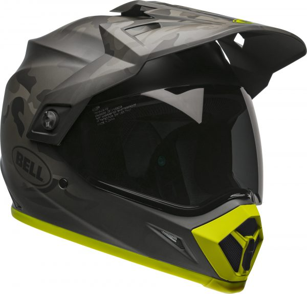 bell-mx-9-adventure-mips-dirt-helmet-stealth-camo-matte-black-hi-viz-front-right-BELL MX-9 ADVENTURE MIPS STEALTH CAMO MATT BLACK/HI-VIZ
