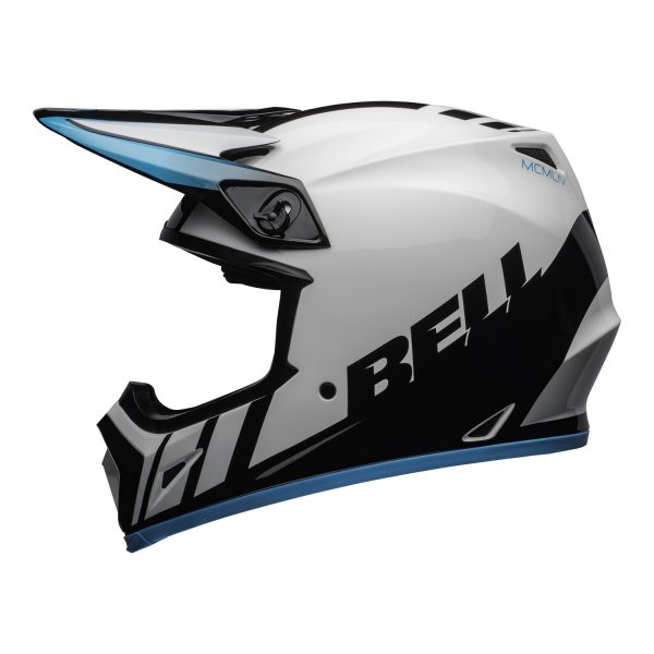 bell-mx-9-mips-dirt-helmet-dash-gloss-white-blue-left.jpg-Bell MX 2021 MX-9 Mips Adult Helmet (Dash White/Blue)