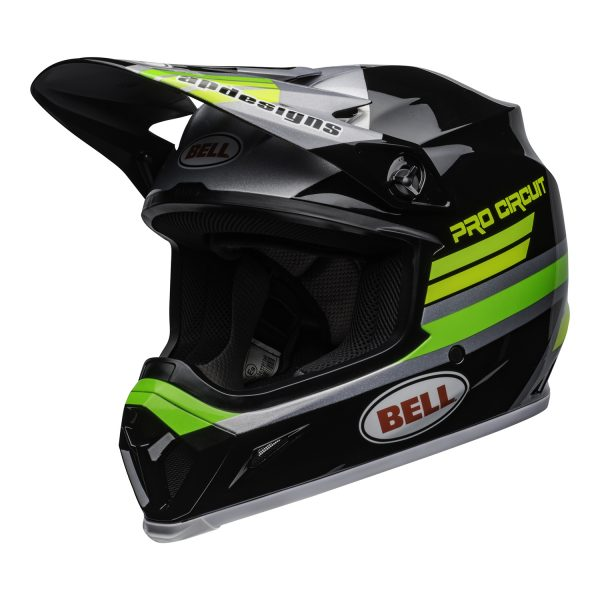 bell-mx-9-mips-dirt-helmet-pro-circuit-replica-20-gloss-black-green-front-left.jpg-Bell MX 2021 MX-9 Mips Adult Helmet (PC Black/Green)