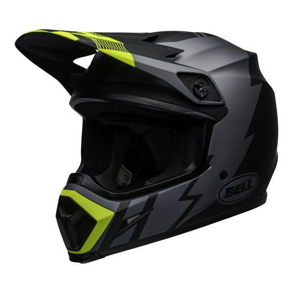 bell-mx-9-mips-dirt-helmet-strike-matte-gray-black-hi-viz-front-left.jpg-Bell MX 2021 MX-9 Mips Adult Helmet (Strike Matte Grey/Black/Hi Viz)