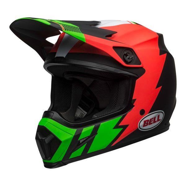 bell-mx-9-mips-dirt-helmet-strike-matte-infrared-green-black-front-left.jpg-Bell MX 2021 MX-9 Mips Adult Helmet (Strike Matte Infrared/Green/Black)