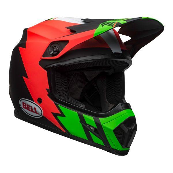 bell-mx-9-mips-dirt-helmet-strike-matte-infrared-green-black-front-right.jpg-Bell MX 2021 MX-9 Mips Adult Helmet (Strike Matte Infrared/Green/Black)