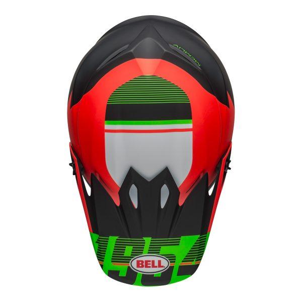 bell-mx-9-mips-dirt-helmet-strike-matte-infrared-green-black-top.jpg-Bell MX 2021 MX-9 Mips Adult Helmet (Strike Matte Infrared/Green/Black)