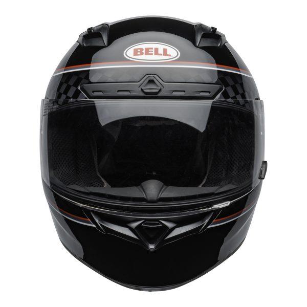 bell-qualifier-dlx-mips-street-helmet-breadwinner-gloss-black-white-clear-shield-front-BELL QUALIFIER DLX MIPS BREADWINNER GLOSS BLACK WHITE