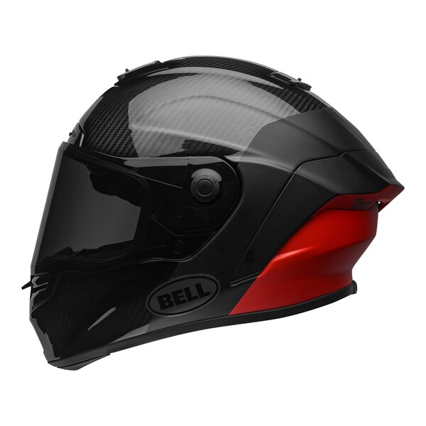 bell-race-star-flex-dlx-street-helmet-carbon-lux-matte-gloss-black-red-left-clear-shield__91023.1601545018.jpg-Bell Street 2021 Race Star Flex DLX Adult Helmet (Lux M/G Black/Red)
