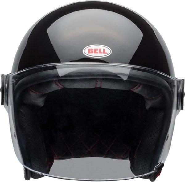 bell-riot-culture-helmet-gloss-black-clear-shield-front-BELL RIOT SOLID MATT BLACK