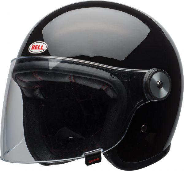 bell-riot-culture-helmet-gloss-black-clear-shield-front-left-BELL RIOT SOLID MATT BLACK