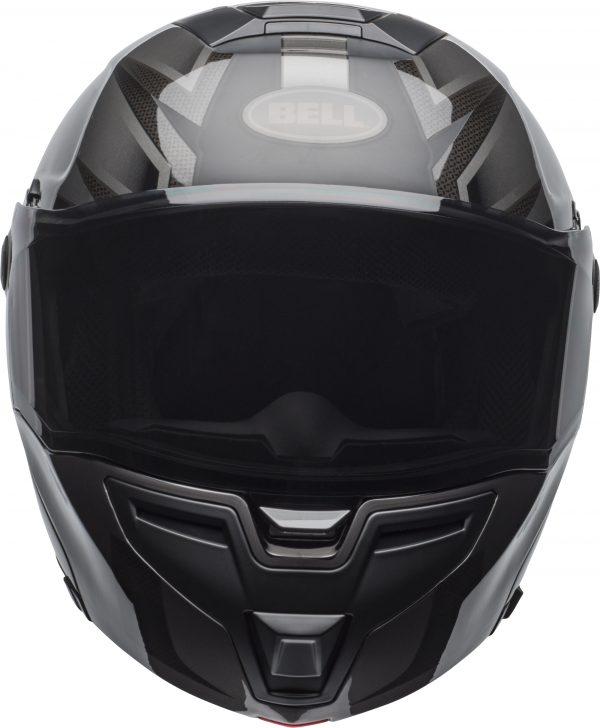 bell-srt-modular-street-helmet-predator-matte-gloss-blackout-front-BELL SRT MODULAR PREDATOR MATT/GLOSS BLACK OUT