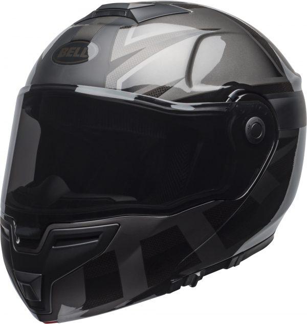 bell-srt-modular-street-helmet-predator-matte-gloss-blackout-front-left-BELL SRT MODULAR PREDATOR MATT/GLOSS BLACK OUT