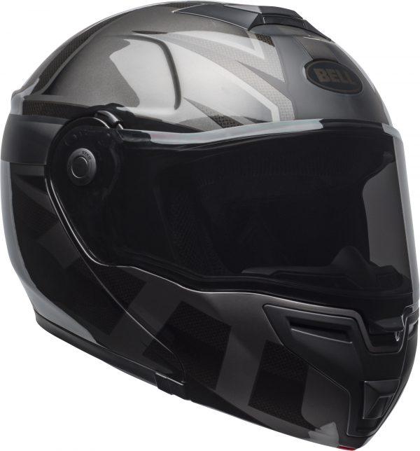bell-srt-modular-street-helmet-predator-matte-gloss-blackout-front-right-BELL SRT MODULAR PREDATOR MATT/GLOSS BLACK OUT
