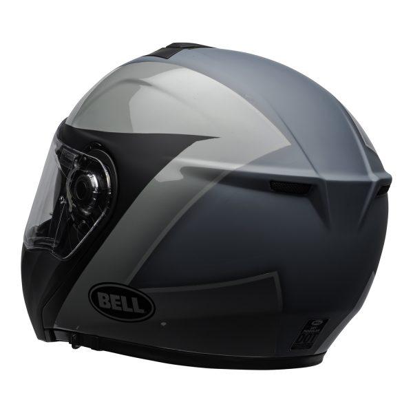 bell-srt-modular-street-helmet-presence-matte-gloss-black-gray-clear-shield-back-left-BELL SRT MODULAR TRANSMIT GLOSS HI VIZ