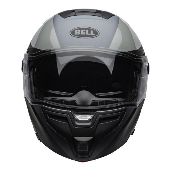 bell-srt-modular-street-helmet-presence-matte-gloss-black-gray-clear-shield-front-BELL SRT MODULAR TRANSMIT GLOSS HI VIZ