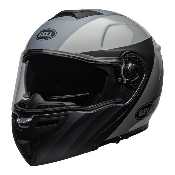 bell-srt-modular-street-helmet-presence-matte-gloss-black-gray-clear-shield-front-left-BELL SRT MODULAR TRANSMIT GLOSS HI VIZ
