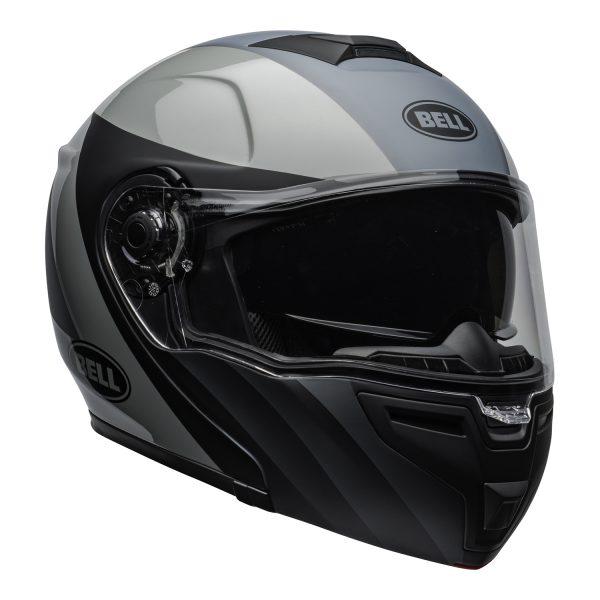 bell-srt-modular-street-helmet-presence-matte-gloss-black-gray-clear-shield-front-right-BELL SRT MODULAR TRANSMIT GLOSS HI VIZ