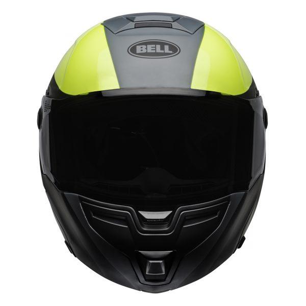 bell-srt-modular-street-helmet-presence-matte-gloss-gray-hi-viz-yellow-front-BELL SRT MODULAR TRANSMIT GLOSS HI VIZ