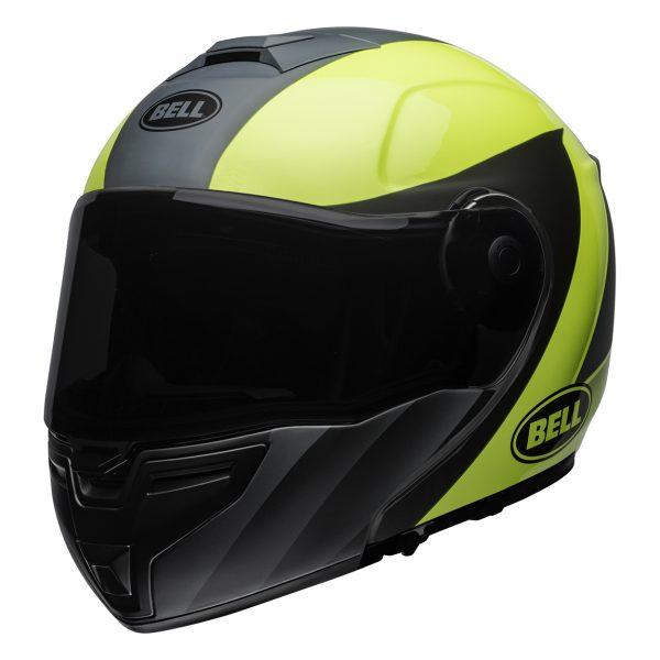 bell-srt-modular-street-helmet-presence-matte-gloss-gray-hi-viz-yellow-front-left-BELL SRT MODULAR TRANSMIT GLOSS HI VIZ