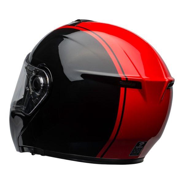 bell-srt-modular-street-helmet-ribbon-gloss-black-red-clear-shield-back-left-BELL SRT MODULAR TRANSMIT GLOSS HI VIZ