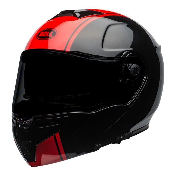 bell-srt-modular-street-helmet-ribbon-gloss-black-red-front-left-BELL SRT MODULAR TRANSMIT GLOSS HI VIZ