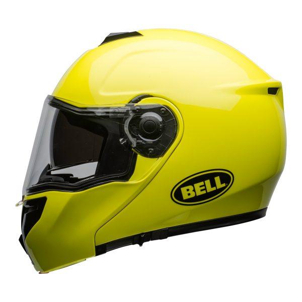 bell-srt-modular-street-helmet-transmit-gloss-hi-viz-clear-shield-left-BELL SRT MODULAR TRANSMIT GLOSS HI VIZ