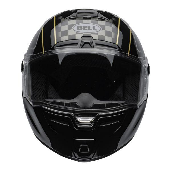 bell-srt-street-helmet-buster-gloss-black-yellow-gray-clear-shield-front-BELL SRT GLOSS BLACK