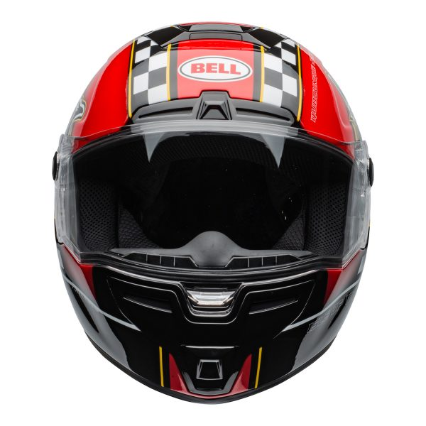 bell-srt-street-helmet-isle-of-man-2020-gloss-black-red-clear-shield-front-BELL SRT GLOSS BLACK