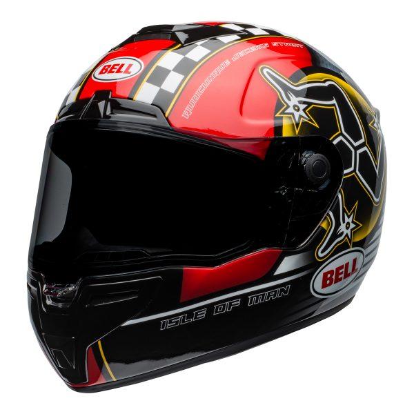 bell-srt-street-helmet-isle-of-man-2020-gloss-black-red-front-left-BELL SRT GLOSS BLACK