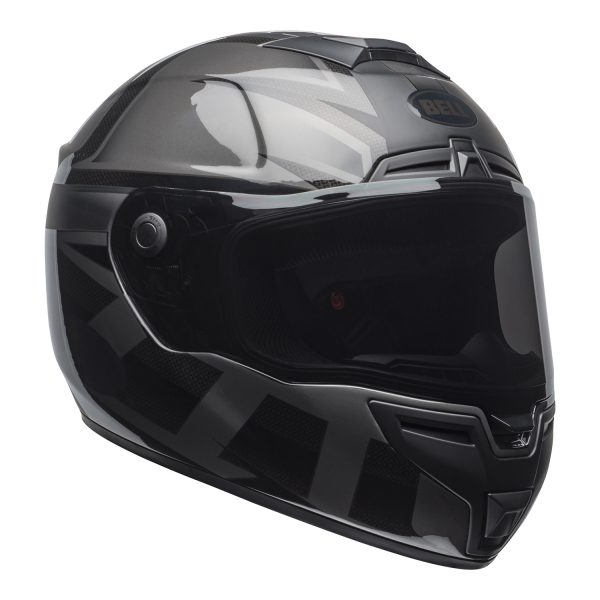 bell-srt-street-helmet-predator-matte-gloss-blackout-front-right-BELL SRT GLOSS BLACK