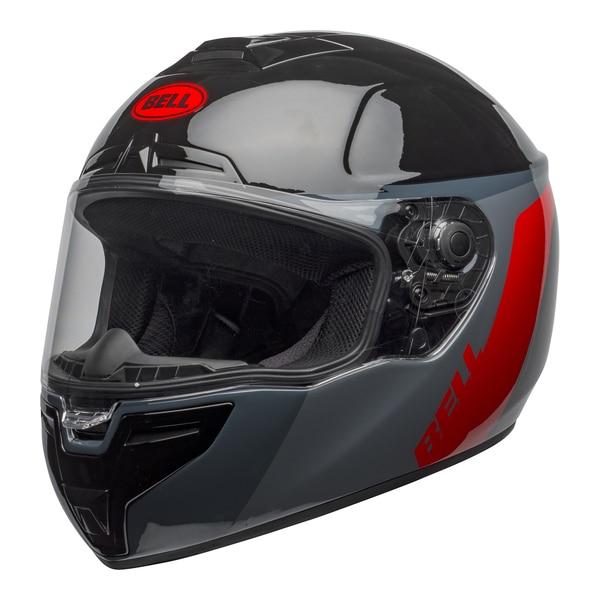 bell-srt-street-helmet-razor-gloss-black-gray-red-front-left-clear-shield__64342.1601548015.jpg-BELL SRT RAZOR GLOSS BLACK GREY RED