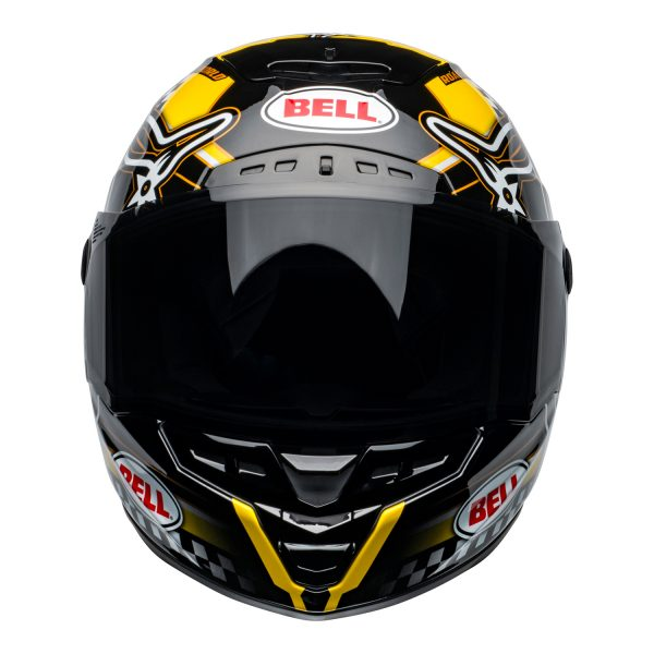 bell-star-dlx-mips-ece-street-helmet-isle-of-man-gloss-black-yellow-front.jpg-Bell Street 2021 Star DLX MIPS Adult Helmet Helmet (IOM Black/Yellow)
