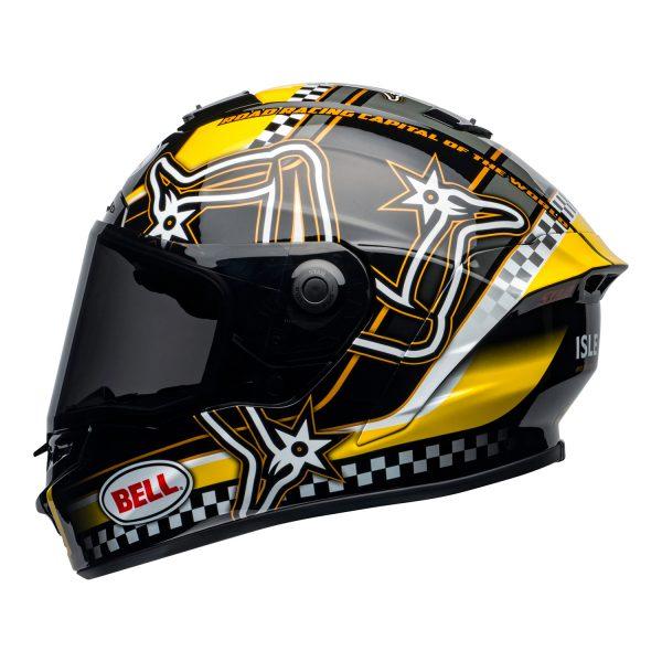 bell-star-dlx-mips-ece-street-helmet-isle-of-man-gloss-black-yellow-left.jpg-Bell Street 2021 Star DLX MIPS Adult Helmet Helmet (IOM Black/Yellow)