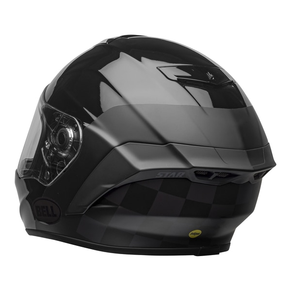 bell-star-dlx-mips-ece-street-helmet-lux-checkers-matte-gloss-black-root-beer-back-left-clear-shield__19807.1603185523.jpg-Bell Street 2021 Star DLX MIPS Adult Helmet Helmet (Lux Checkers M/G Black/Rootbeer)