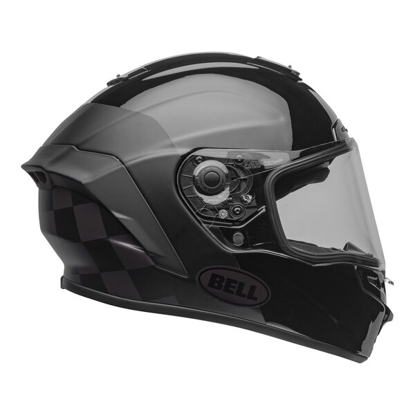 bell-star-dlx-mips-ece-street-helmet-lux-checkers-matte-gloss-black-root-beer-right-clear-shield__97671.1603185523.jpg-Bell Street 2021 Star DLX MIPS Adult Helmet Helmet (Lux Checkers M/G Black/Rootbeer)