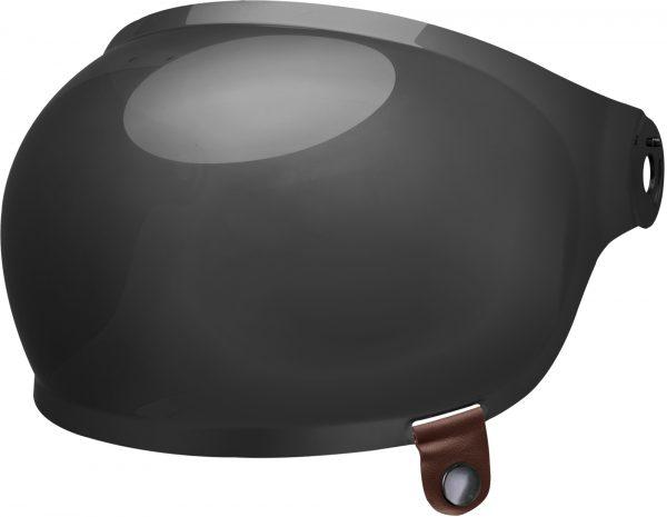 bell-bullitt-bubble-shield-spare-part-dark-smoke-brown-tab-front-left-BELL BULLITT FLAT SHIELDS VARIOUS COLOURS (WITH BLACK TAB) – Dark Silver Iridium